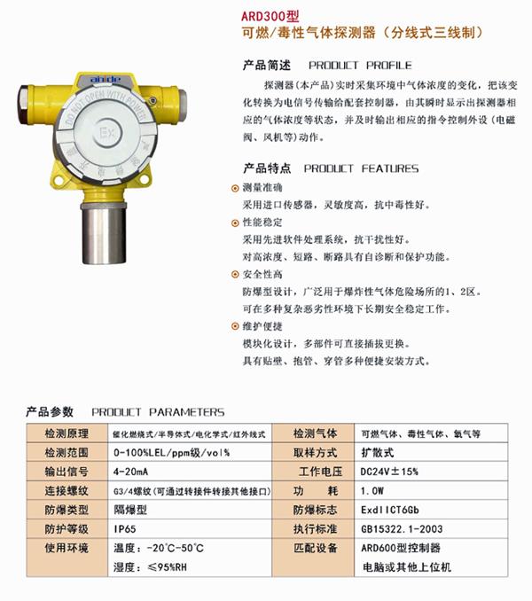 (2)探测器的主要特点:采用M-BUS或RS485通讯协议,数据传输准确、可靠。通过控制器的指令,实现自身参数的设置、修改。功耗低、性能可靠。安装方便、传输距离远。主要技术指标:基本技术指标:;示值误差:±5%F•S;显示方式:大屏幕液晶、发光管;报警方式:声光报警;报警音量:>75dB;报警响应时间:≤30s;设备故障响应时间:≤100s;机箱外形尺寸为:440mm×330mm×98mm ;电    源:AC220V±15%;工作环境:  温    度    -10℃—50℃;湿    度    ≤93%RH;大气压力    86kPa—106kPa;绝缘电阻: 正常环境时   ≥100MΩ;湿度为93%RH时   ≥1MΩ;工作方式:连续;功    耗:10W;报警输出:1A /4组 接点输出;供电节点:20个(节点包括探测器和联动模块);总线的传输距离不大于1200米(M-BUS总线采用二芯屏蔽双绞电缆线,线径≥0.75mm2;RS485总线采用四芯屏蔽电缆线,线径≥0.75mm2。)电源模块-选配:电    源: AC220V±15%    DC24V输出;备电7AH/12V的电池两块。工作环境:温    度    -10℃—40℃;湿    度    ≤93%RH;大气压力    86kPa—106kPa;绝缘电阻:正常环境    ≥100MΩ;湿度为93%RH时   ≥1MΩ;工作方式:连续;功    耗:3W(满负荷);最大功率:3A、24V。联动模块-选配:电    源:DC24V;环境温度:-10℃—40℃;绝缘电阻:正常环境时   ≥100MΩ;湿度为93%RH时   ≥1MΩ;工作方式:连续;功    耗:3W(满负荷);接点容量:2A /AC 220V;继电器组数:4组;总线的传输距离不大于1200米(M-BUS总线采用二芯屏蔽双绞电缆线,线径≥0.75mm2;RS485总线采用四芯屏蔽电缆线,线径≥0.75mm2。)继电器可设置成瞬间输出、常输出两种方式。探测器技术指标:电    源:DC24V;功    耗:2W;工作环境:温 度:-40℃-70℃(可燃气体);-20℃-50℃(有毒气体);湿 度:≤93%RH;大气压力:86kPa—106kPa;绝缘电阻:正常环境时≥100MΩ;工作方式:连续;防爆型式:隔爆型;防爆标志:ExdIICT6;贮    存:温度-50℃—80℃   湿度≤93%RH;总线的传输距离不大于1200米(M-BUS总线采用二芯屏蔽双绞电缆线,线径≥0.75mm2;RS485总线采用四芯屏蔽电缆线,线径≥0.75mm2。)